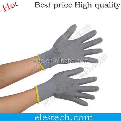 Non-slip Lint ESD Palm Fit Gloves Antistatic Glove/ESD safety glove provide free sample