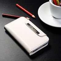 Best price phone accessory genuine leather wallet flip elegant white phone case for iphone 4 4s
