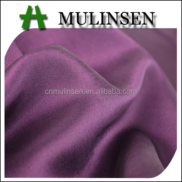 Mulinsen Textile Elegant Silk Touch Polyester Plain Dye Purple Satin Fabric For Party Dress