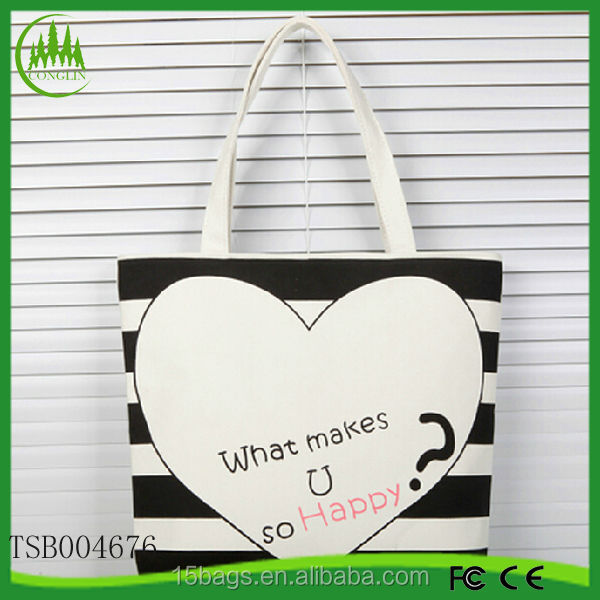 New arrival wholesale fashion latest ladies cotton tote fruit handled bag
