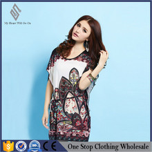 The new summer dress manufacturer foreign trade silk Korean large code waist bat sleeve dress wholesale