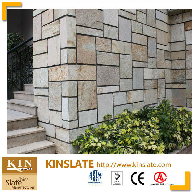 Kinslate natural de piedra de color beige decorativos azulejo de la pared de la pared exterior - Losetas para pared ...