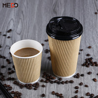 Brand new brown with high quality 14 oz hot coffee paper cup