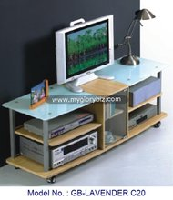 Wooden TV Stand Furniture With Wheels, Living Room Wood MDF TV Rack With Wheels, Wooden Glass Living Room Furniture