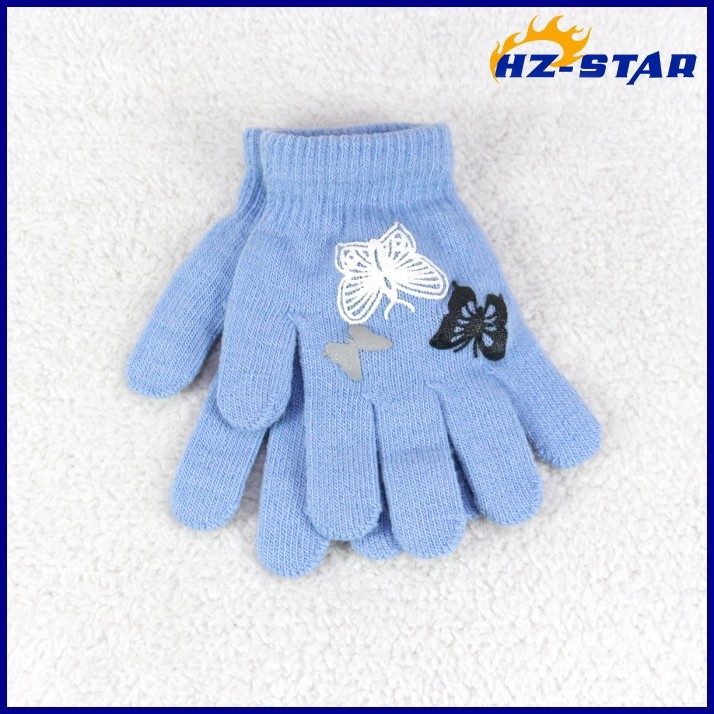 HZS-13236003 new style butterfly printing children kids cheap winter gloves