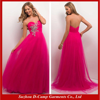 OC-1572 Strapless hot pink plus size evening dress haute couture plus size evening dress for muslim women