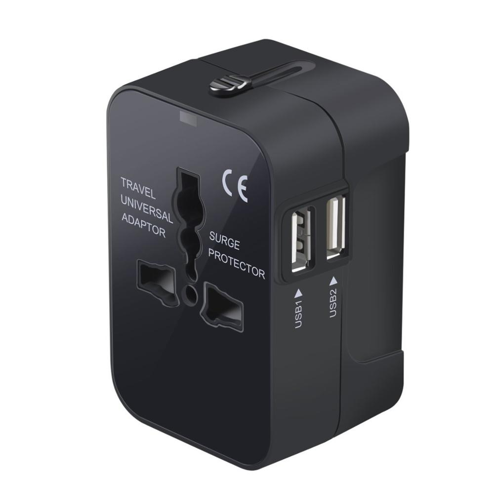 All in one universal travel <strong>plug</strong> adapter 2 USB ports AC Charger with AUS US UK EU <strong>Plug</strong>