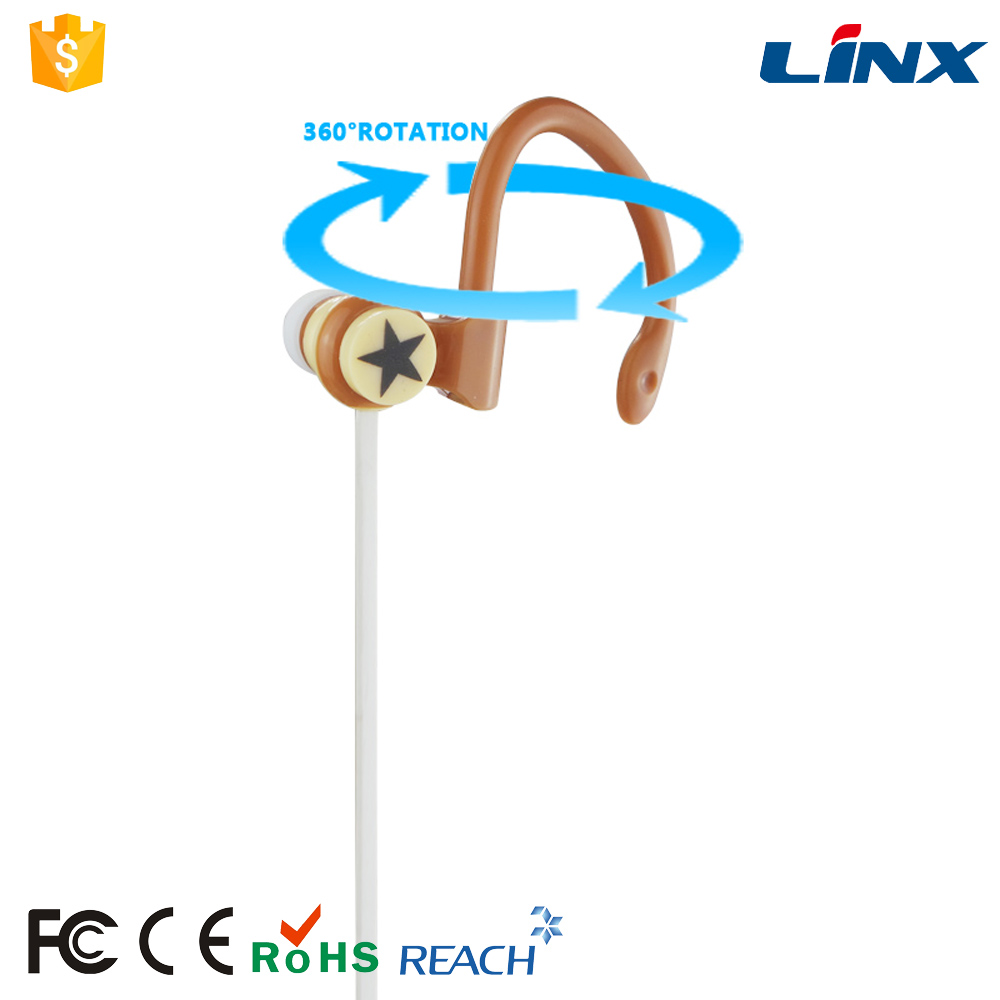 Flat Audio Cord 10 mm Driver Stereo Ear Hook Headphone With 360 Degree Rotatable Hook
