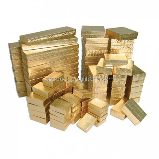 Mix Size Cotton-Filled Make Gold Color Paper Craft Jewelry Box P1844
