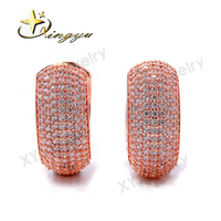 Cheap Wholesale Brass Stud Earrings Zircon Jewelry Rose Gold Earrings