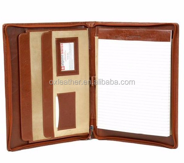 Customized mini Genuine Leather Portfolio leather note book cover