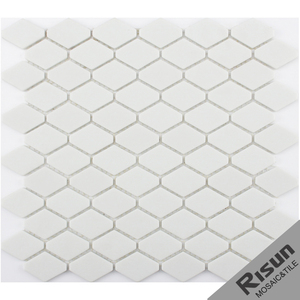 2018 New Design Art White Color Rhombus Glass Mosaic Tiles Enamel Glass Mosaic Home Depot