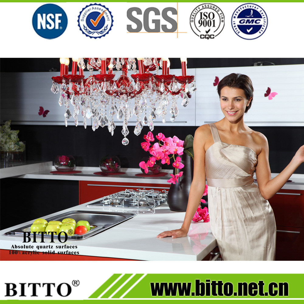 Super white resin polyester solid surface countertop price
