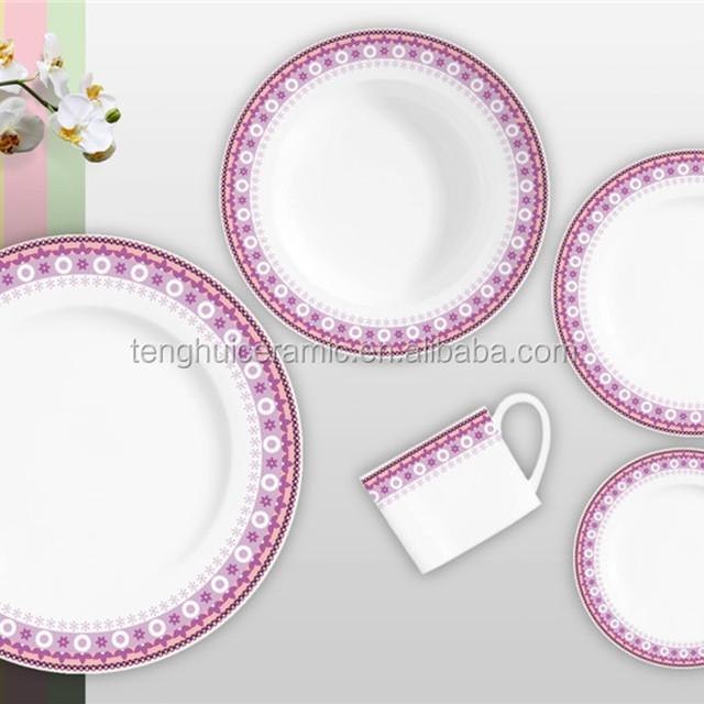 TH4549 Full Decal Round Shape Tableware Ceramic Dinnerware Porcelain Set 20pcs/30pcs