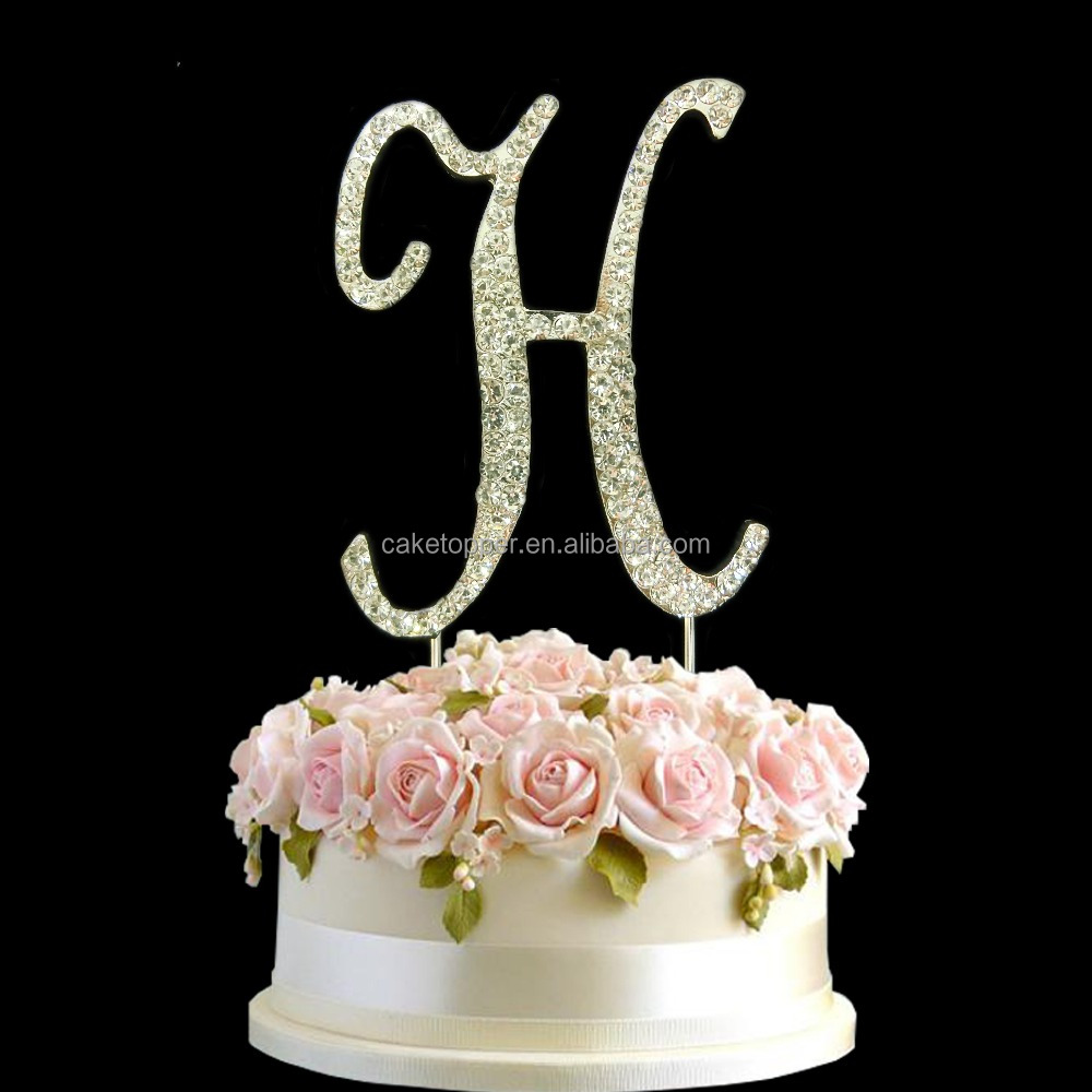 Special Wedding decorations initials A-Z letters cake topper for sale in the cake shop
