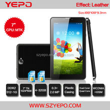 Leather Casing Phablet 7 MTK 8312 GPS/ BT/FMCheapest Tablet PC 3G Slim Card Slot Android 4.4 O/S