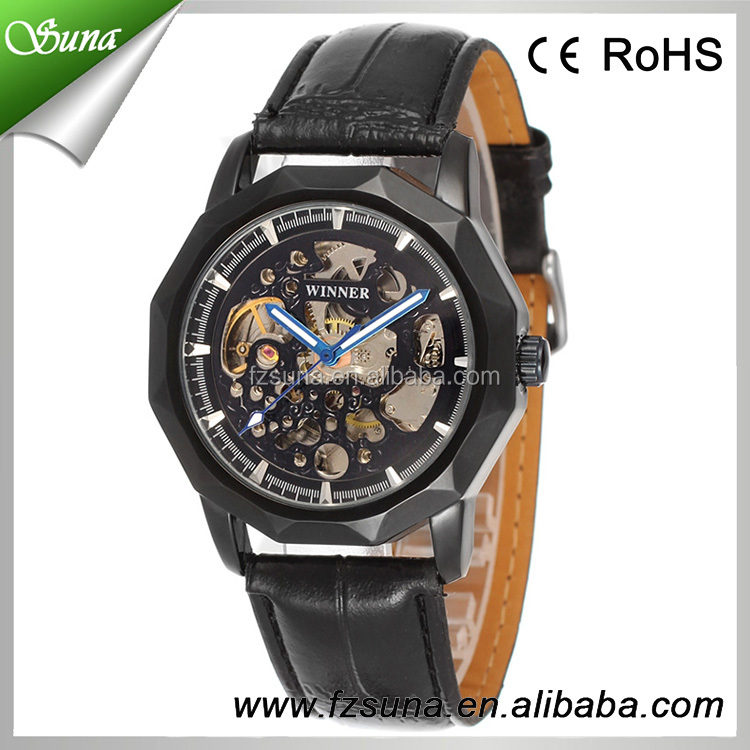 Popular in China Winner 5 color genuine leather wrist watch man