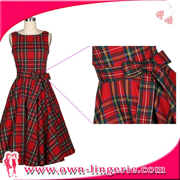 Traditional Tartan Scottish Kilt made vintage women sleeveless dress casual outwear dress