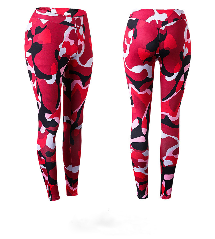 online hot sale women yoga pants support customize logo printing polyester camouflage yoga pants