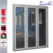 Superwu exterior used commercial tempered glass curved folding door