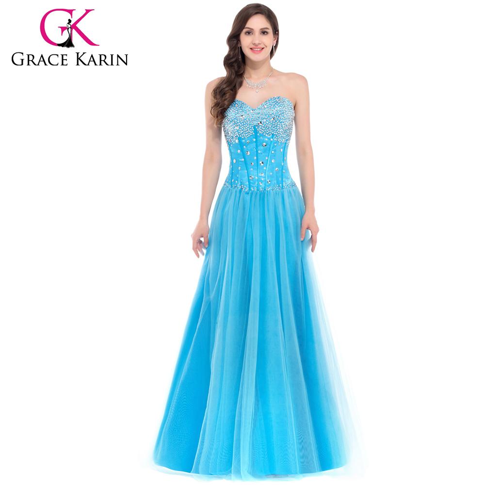 Grace Karin Women Strapless Tulle Heavy Beaded Strapless Long Blue ...