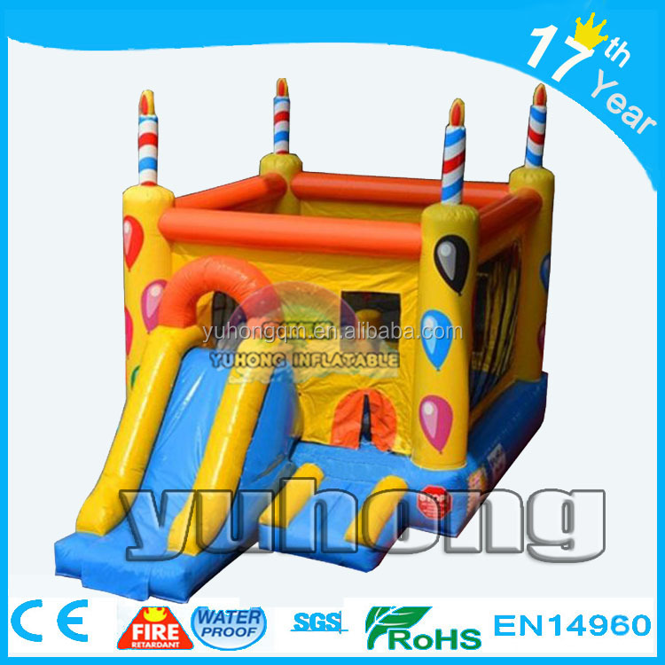 Double slide inflatable birthday cake candle balloon bouncy castle air pumps