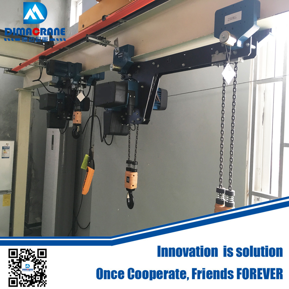 500 kg 1 ton 2 ton Demag style super low headroom type electric chain hoist with double hook in workshop