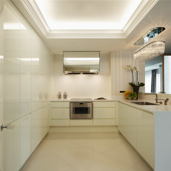 Home kitchen design frameless kitchen cabinets pure white lacquer kitche cabinet