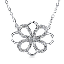 Silver Chain Womens Lucky Four Leaf Clover Necklace For Gift give away