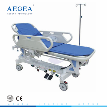 AG-HS009 medical equipment 2 function mortuary stretcher with ABS handrails