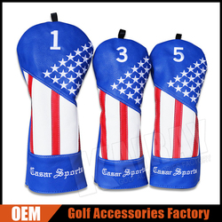 Custom Golf Club Leather headcovers, Stars and Stripes Wood Covers