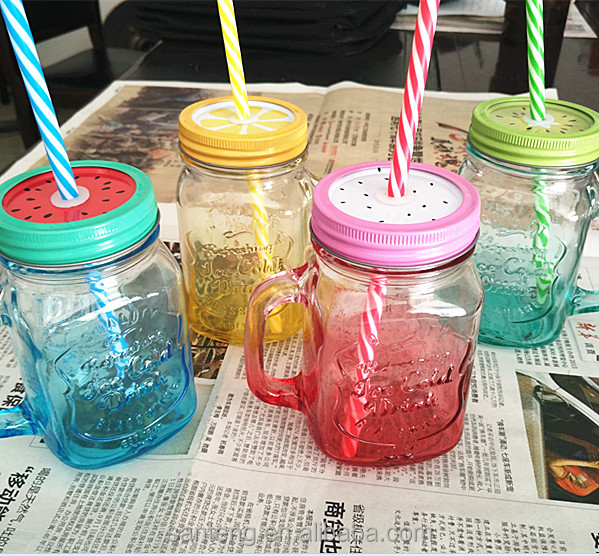 Colorful mason jar with straw and handle
