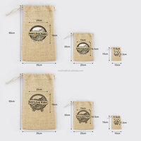 Natural Drawstring Small Jute Bag, Mini Jute Bag With Logo Printed