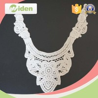 widentextile white high quality 2016 latest machine embroidery neck flower lace designs metallic lace