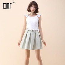 Cute and sweet girl's clothes linen cotton pleated mini skater skirt with bow