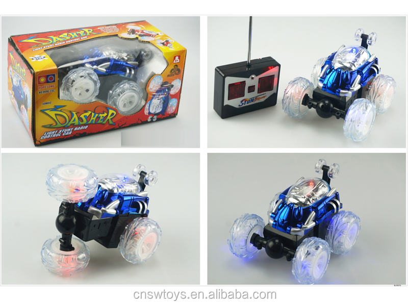 YK0809182 Hot popular plastic toy 4 channel rc car tumbling tip lorry with transparent light wheel and music w/o batteries