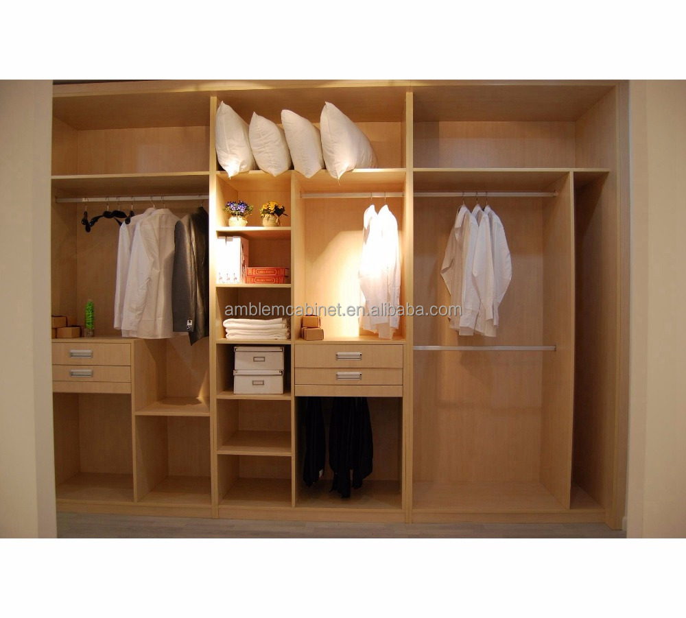 Modern High Quality Wood Open Wardrobe Design Walk Closet