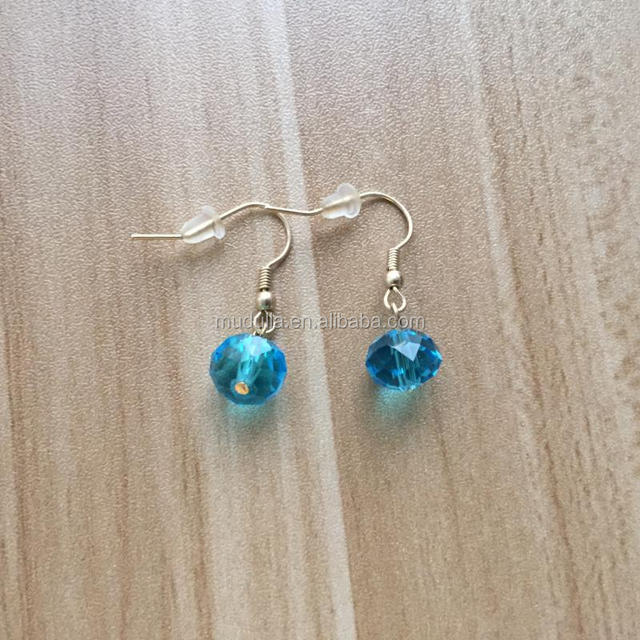 M60503294 Blue Glass Crystal Dangle Pendant Earrings With Gold Electroplated ,Bridal Earrings,