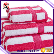 Wholesale towel manufacturer white and pink striped used bath towels