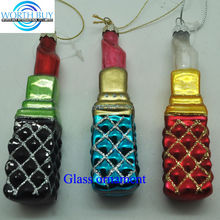 Set of 3 artificial lipsticks unique glass christmas ornaments from Shenzhen factory