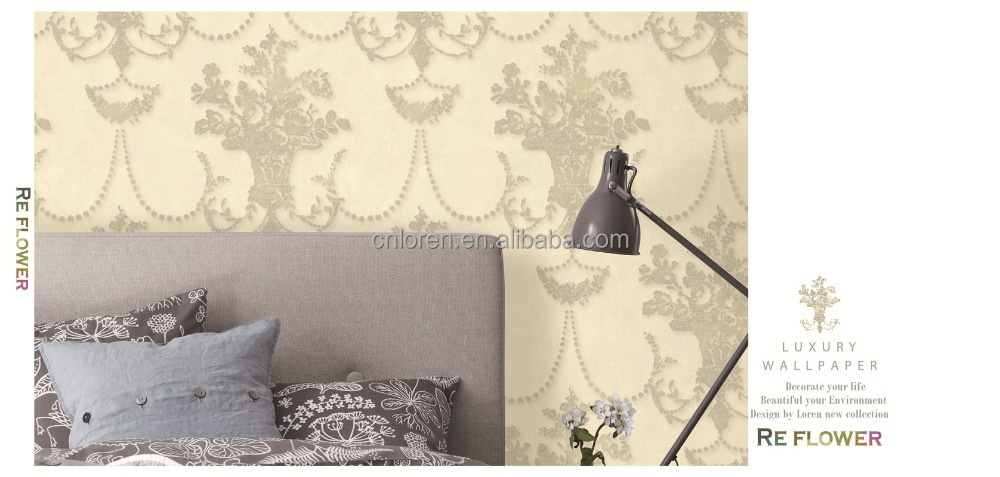 Loren 3d pure paper wallpaper for home decoration and bedroom with CE confiremed (cl-120404)