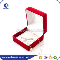 Square shaped red color custom velvet jewelry boxes wholesale