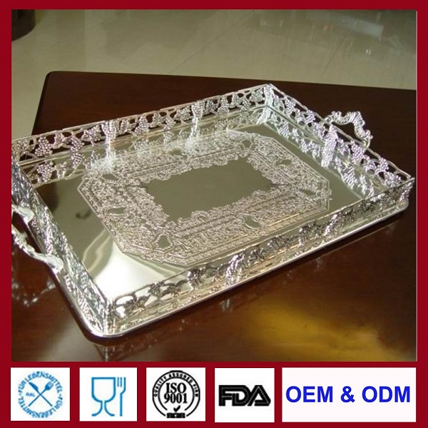 silver trays fabrication rectangular silverplate tray customized silver plating supplier