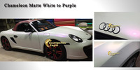 Charming Self-adhesive Chameleon Matte White to Purple Motorcycle Styling Vinyl Film
