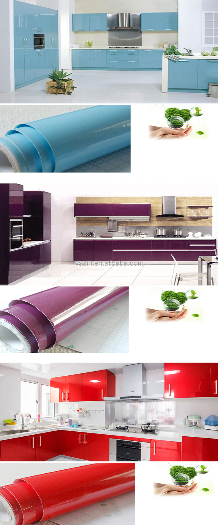 Home decor colored Self Adhesive PVC cabinet vinyl wrap