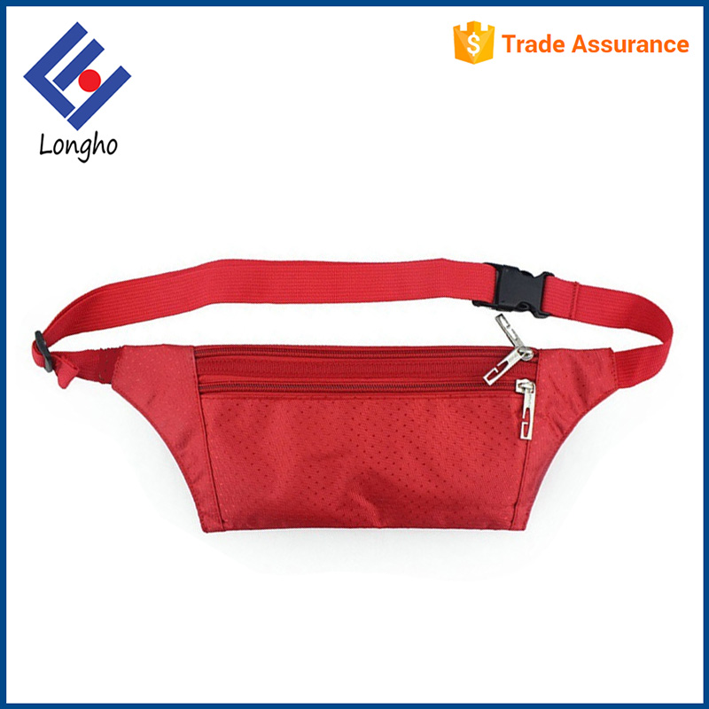 Outdoor waterproof thin fanny pack belt bag 3 zipper pockets cycling running nylon waist bag sport