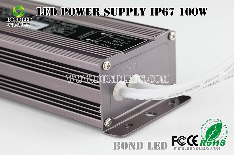 100W Aluminium case waterproof IP67 power supply constant voltage 100W 24V 12V led driver