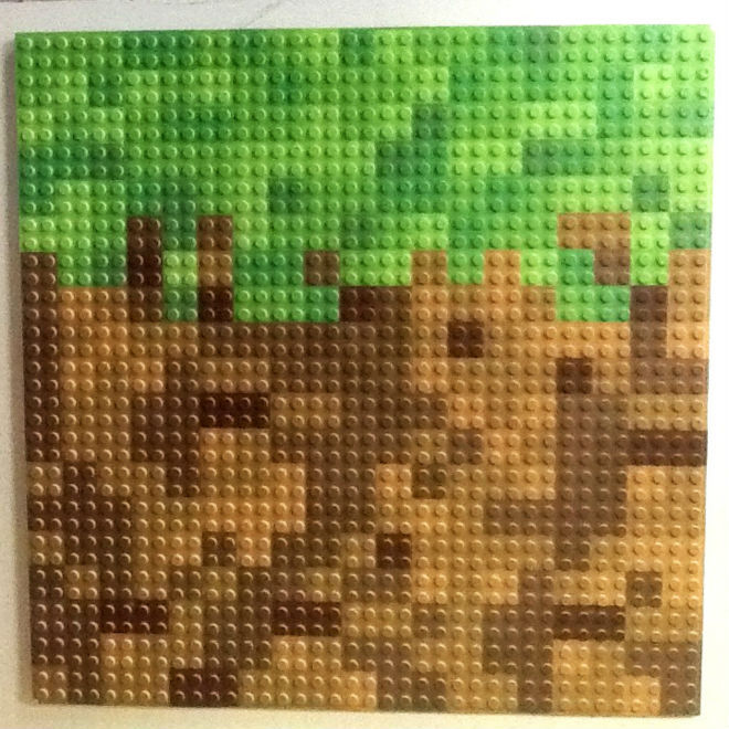 "12"" X 12"" 8 Bit Pixel Building Slab Bricks Blocks Green Tan Brown Colors Base Plate"