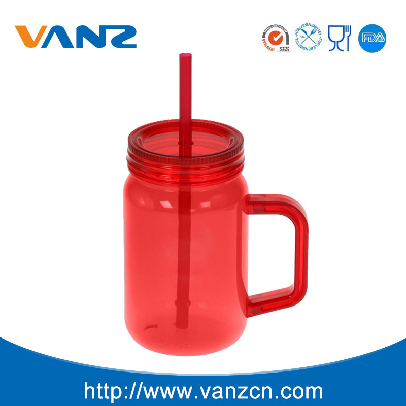 plastic tumbler with straw and handle