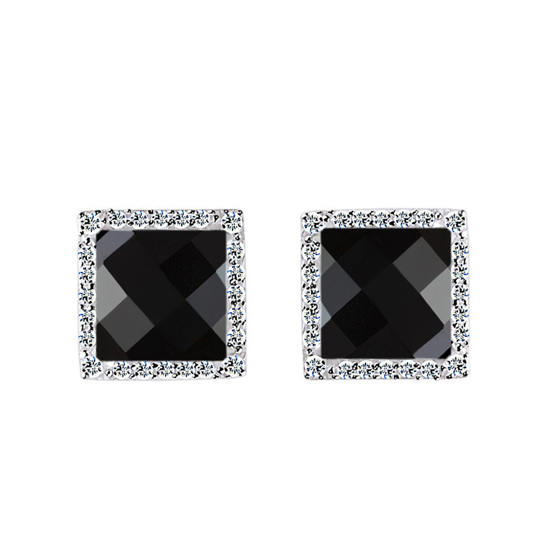 black agate Diamond cutting square earrings in 925 sterling silver